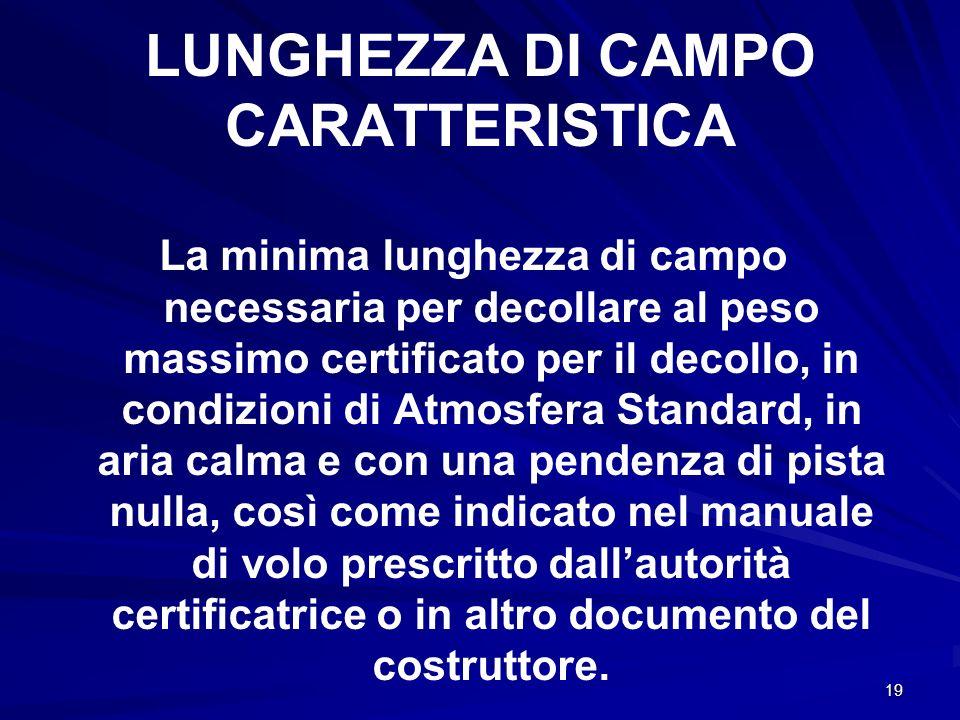 19 LUNGHEZZA DI CAMPO CARATTERISTICA La minima lunghezza di campo necessaria per decollare al peso massimo certificato per il decollo, in condizioni d
