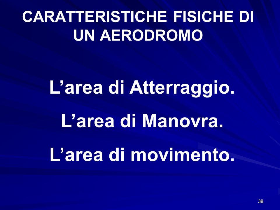 38 CARATTERISTICHE FISICHE DI UN AERODROMO Larea di Atterraggio. Larea di Manovra. Larea di movimento.