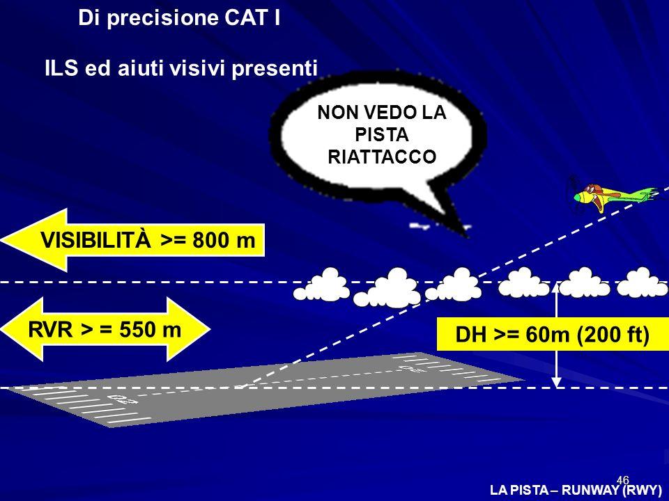 46 Di precisione CAT I ILS ed aiuti visivi presenti DH >= 60m (200 ft) VISIBILITÀ >= 800 m RVR > = 550 m NON VEDO LA PISTA RIATTACCO LA PISTA – RUNWAY