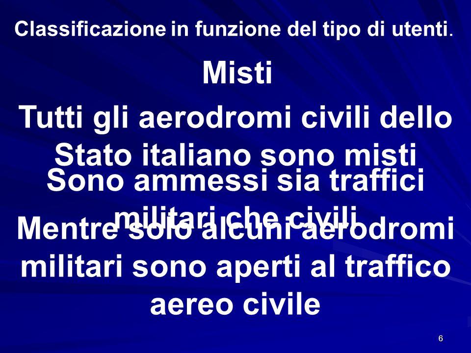 6 Classificazione in funzione del tipo di utenti. Misti Sono ammessi sia traffici militari che civili Tutti gli aerodromi civili dello Stato italiano