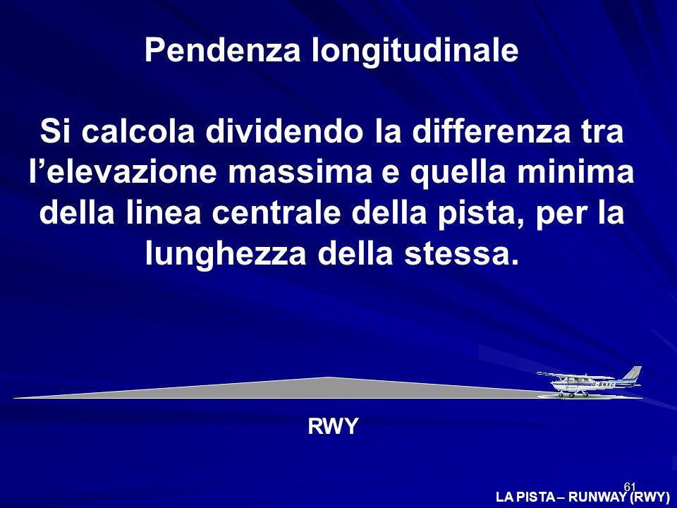 61 LA PISTA – RUNWAY (RWY) Pendenza longitudinale Si calcola dividendo la differenza tra lelevazione massima e quella minima della linea centrale dell