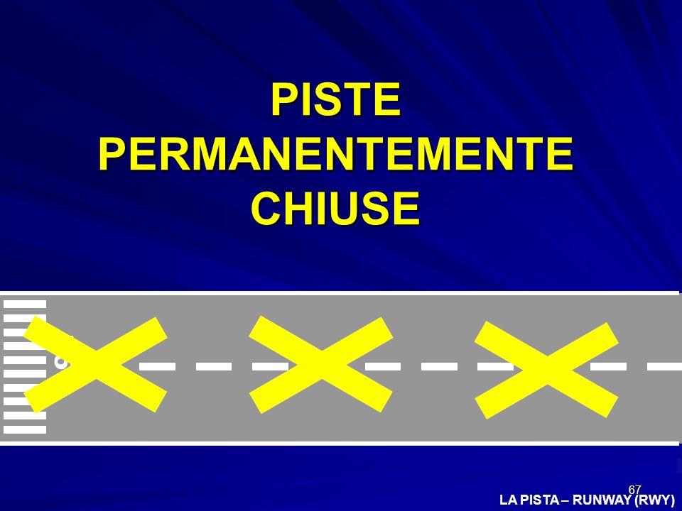 67 LA PISTA – RUNWAY (RWY) 36 L PISTE PERMANENTEMENTE CHIUSE