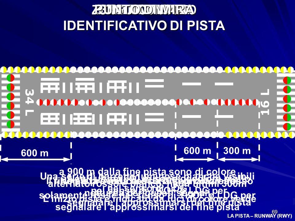 69 LA PISTA – RUNWAY (RWY) 34 L 16 L BORDO PISTA Negli ultimi 600 m sono di colore giallo nel senso di TKOF o LDG per segnalare lapprossimarsi del fin