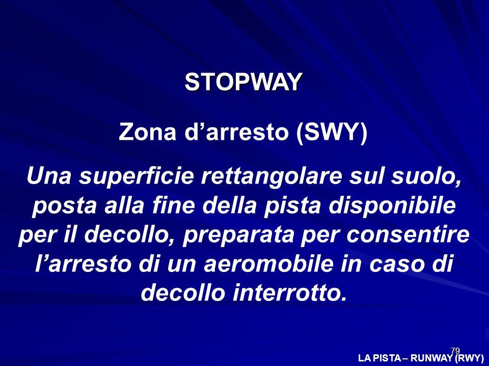 79 LA PISTA – RUNWAY (RWY) STOPWAY Zona darresto (SWY) Una superficie rettangolare sul suolo, posta alla fine della pista disponibile per il decollo,