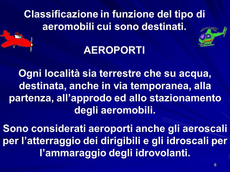 8 Classificazione in funzione del tipo di aeromobili cui sono destinati. AEROPORTI Ogni località sia terrestre che su acqua, destinata, anche in via t