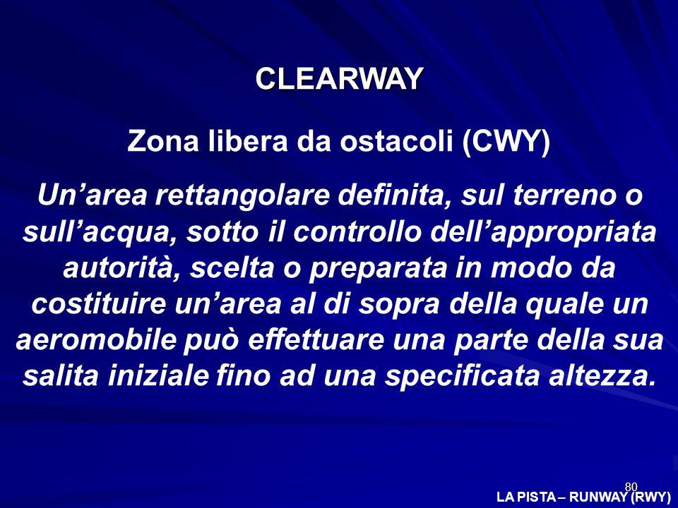 80 LA PISTA – RUNWAY (RWY) CLEARWAY Zona libera da ostacoli (CWY) Unarea rettangolare definita, sul terreno o sullacqua, sotto il controllo dellapprop