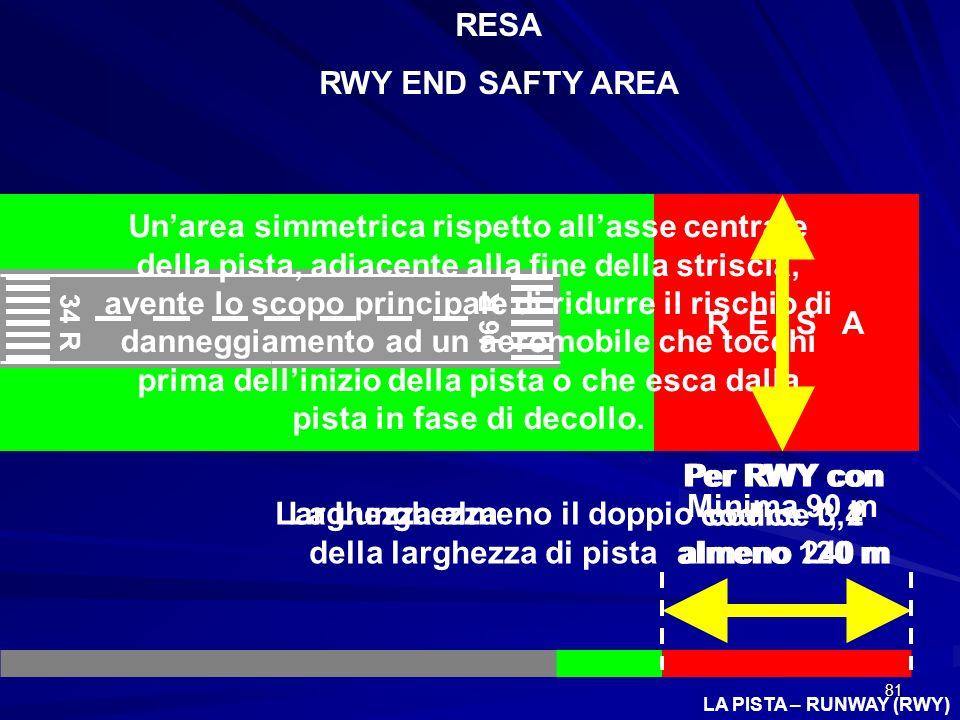 81 LA PISTA – RUNWAY (RWY) 34 R 16 R RESA RWY END SAFTY AREA R E S A Unarea simmetrica rispetto allasse centrale della pista, adiacente alla fine dell