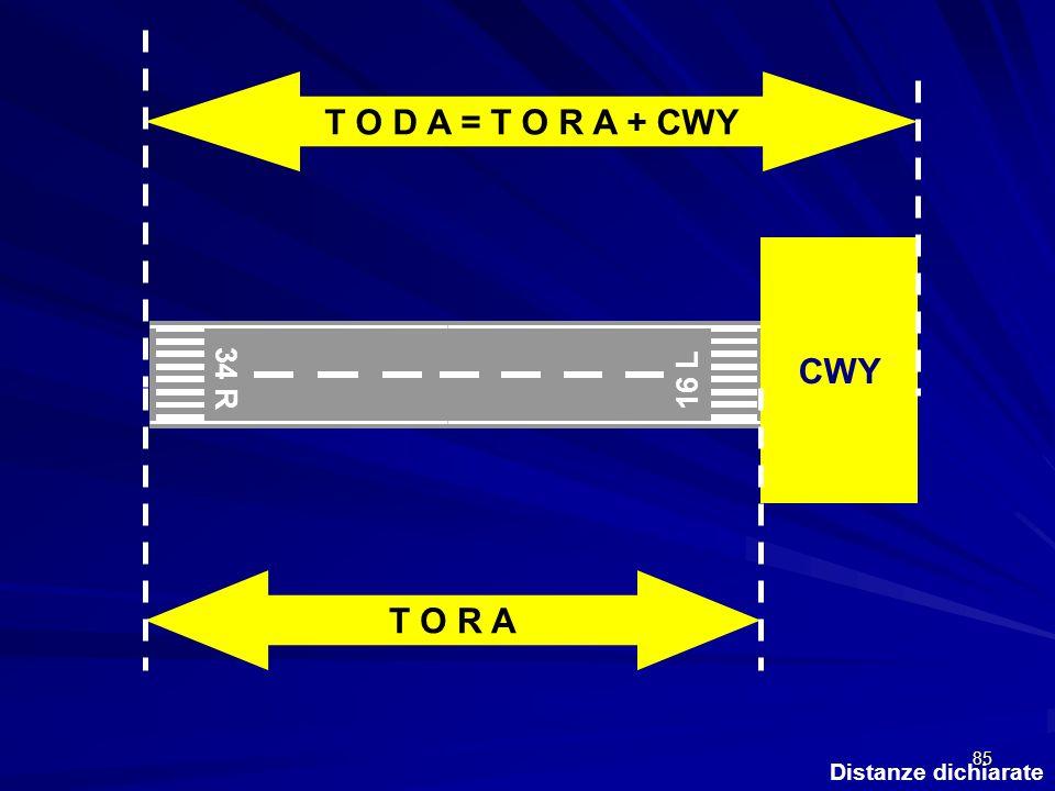85 Distanze dichiarate 34 R 16 L CWY T O R A T O D A = T O R A + CWY