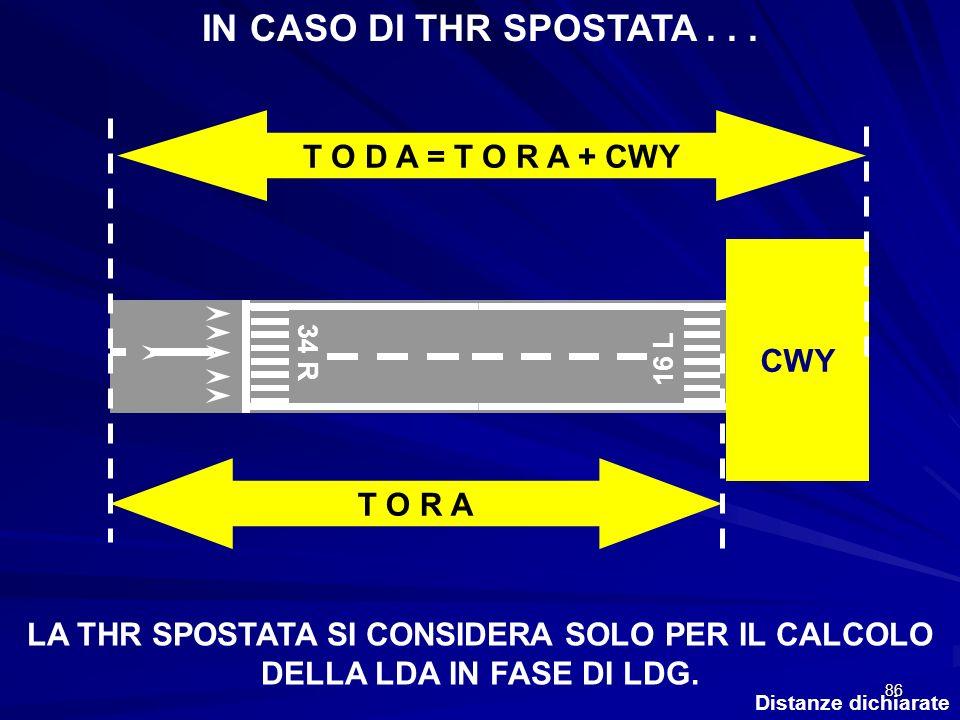 86 Distanze dichiarate CWY 34 R 16 L IN CASO DI THR SPOSTATA... T O R A T O D A = T O R A + CWY LA THR SPOSTATA SI CONSIDERA SOLO PER IL CALCOLO DELLA