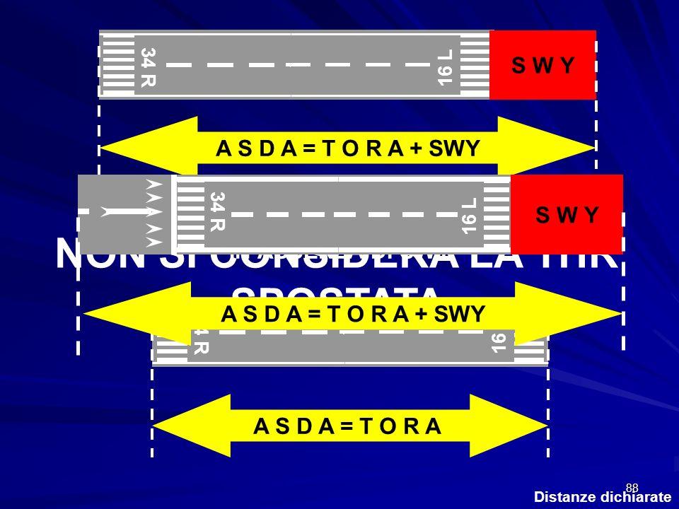 88 Distanze dichiarate 34 R 16 L S W Y IN ASSENZA DI SWY 34 R 16 L A S D A = T O R A A S D A = T O R A + SWY ANCHE IN QUESTO CASO NON SI CONSIDERA LA