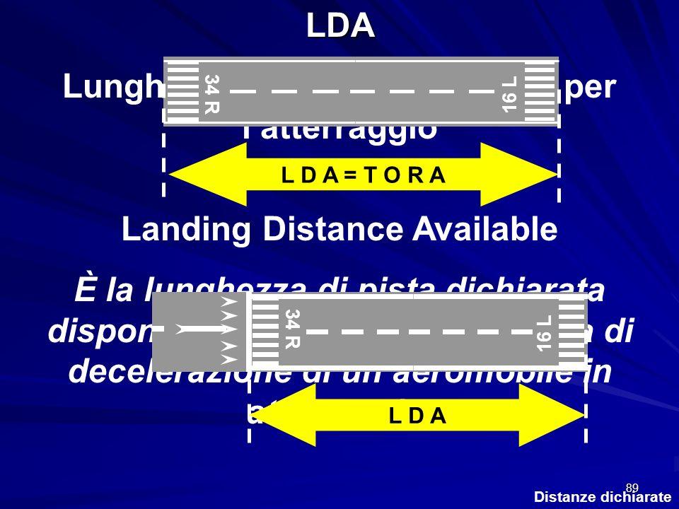 89 Distanze dichiarateLDA Lunghezza di pista disponibile per latterraggio Landing Distance Available È la lunghezza di pista dichiarata disponibile ed