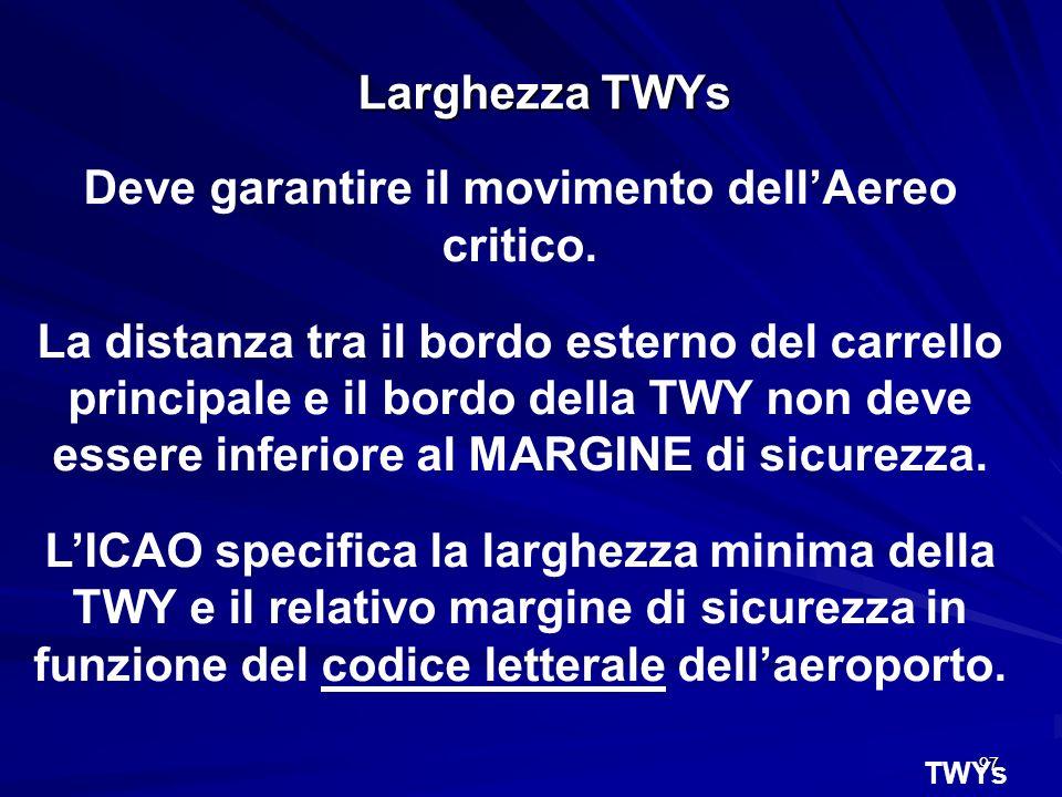 97 Larghezza TWYs Deve garantire il movimento dellAereo critico. La distanza tra il bordo esterno del carrello principale e il bordo della TWY non dev