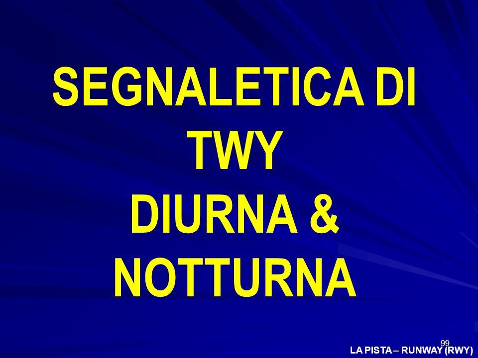 99 LA PISTA – RUNWAY (RWY) SEGNALETICA DI TWY DIURNA & NOTTURNA