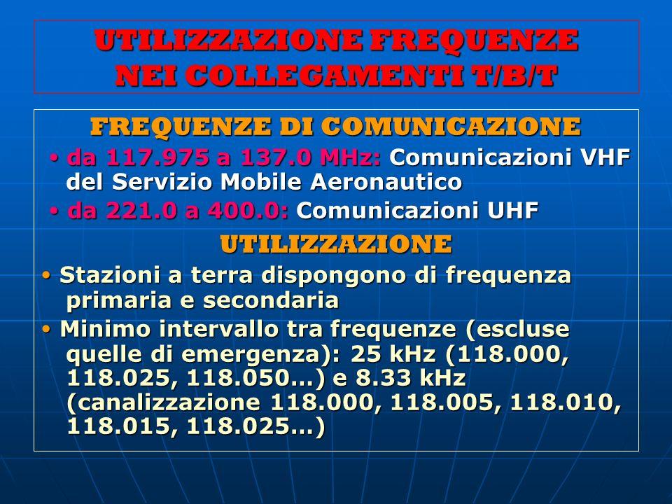 UTILIZZAZIONE FREQUENZE NEI COLLEGAMENTI T/B/T FREQUENZE DI COMUNICAZIONE da 117.975 a 137.0 MHz: Comunicazioni VHF del Servizio Mobile Aeronautico da