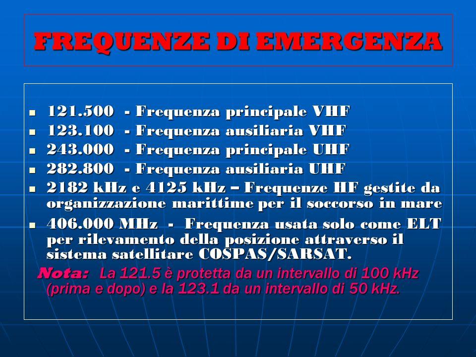FREQUENZE DI EMERGENZA 121.500 - Frequenza principale VHF 121.500 - Frequenza principale VHF 123.100 - Frequenza ausiliaria VHF 123.100 - Frequenza au