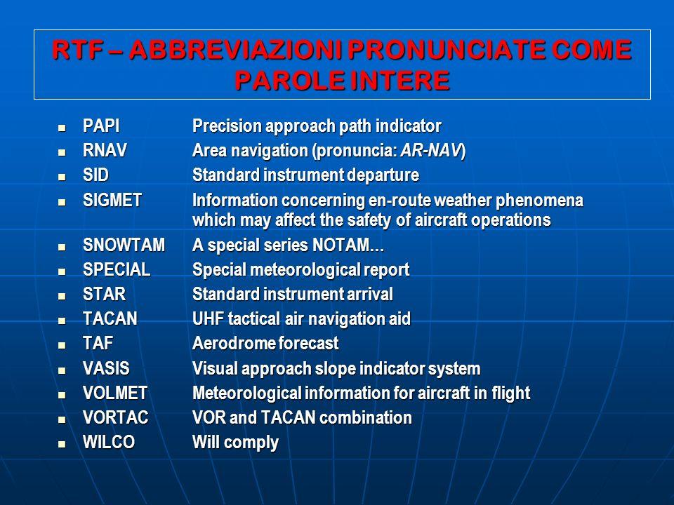 RTF – ABBREVIAZIONI PRONUNCIATE COME PAROLE INTERE PAPIPrecision approach path indicator PAPIPrecision approach path indicator RNAVArea navigation (pr