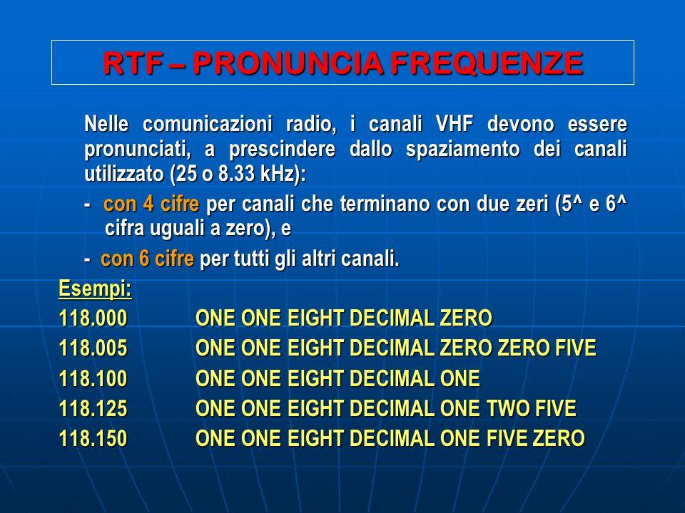 RTF – PRONUNCIA FREQUENZE Nelle comunicazioni radio, i canali VHF devono essere pronunciati, a prescindere dallo spaziamento dei canali utilizzato (25