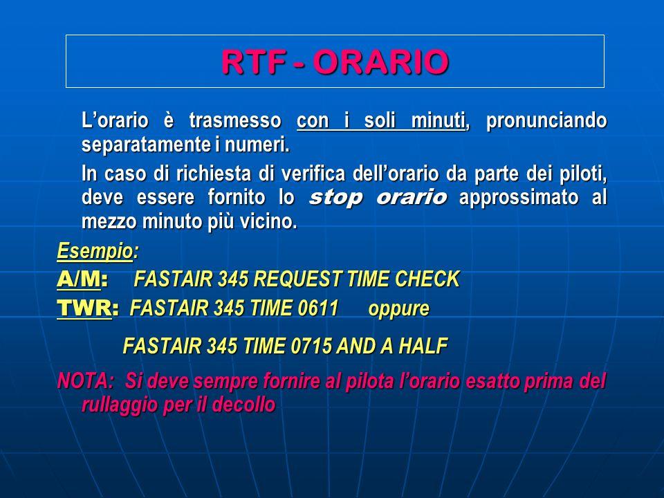 RTF - ORARIO Lorario è trasmesso con i soli minuti, pronunciando separatamente i numeri. In caso di richiesta di verifica dellorario da parte dei pilo