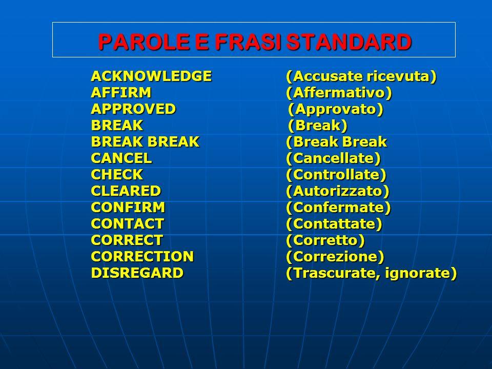 PAROLE E FRASI STANDARD ACKNOWLEDGE (Accusate ricevuta) AFFIRM (Affermativo) AFFIRM (Affermativo) APPROVED (Approvato) BREAK (Break) BREAK BREAK (Brea