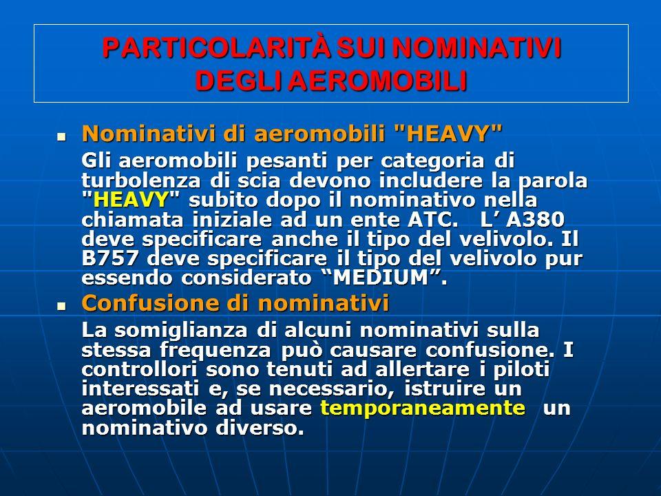PARTICOLARITÀ SUI NOMINATIVI DEGLI AEROMOBILI Nominativi di aeromobili