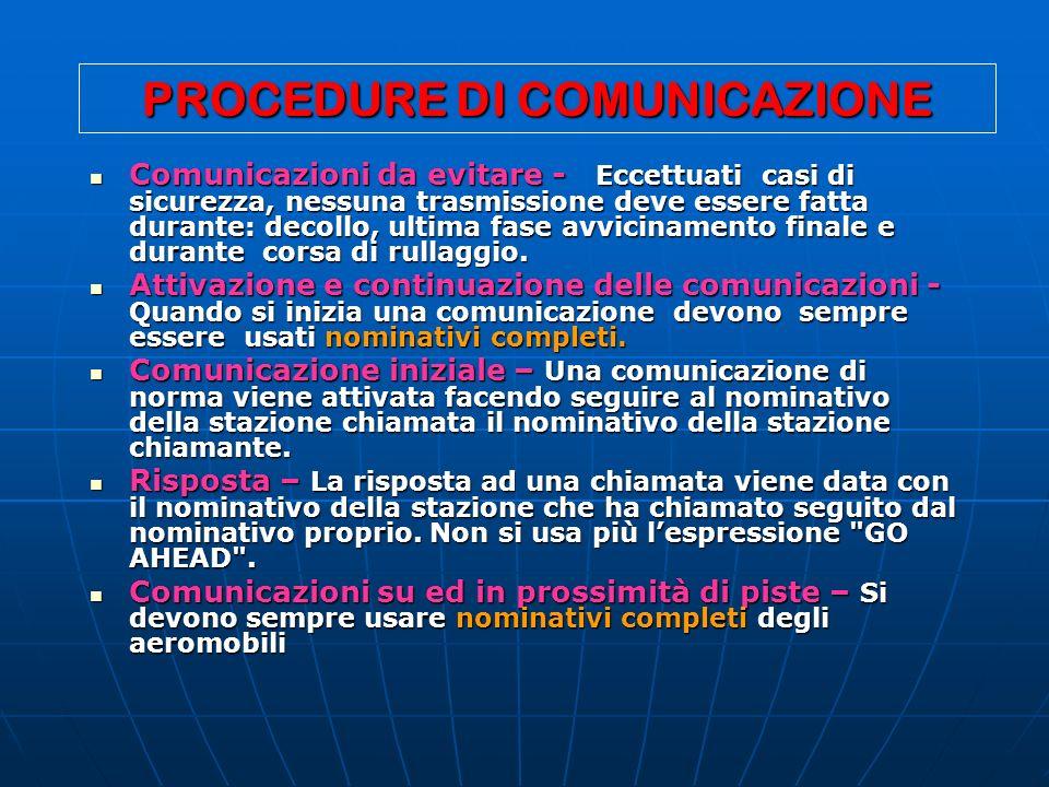 PROCEDURE DI COMUNICAZIONE Comunicazioni da evitare - Eccettuati casi di sicurezza, nessuna trasmissione deve essere fatta durante: decollo, ultima fa