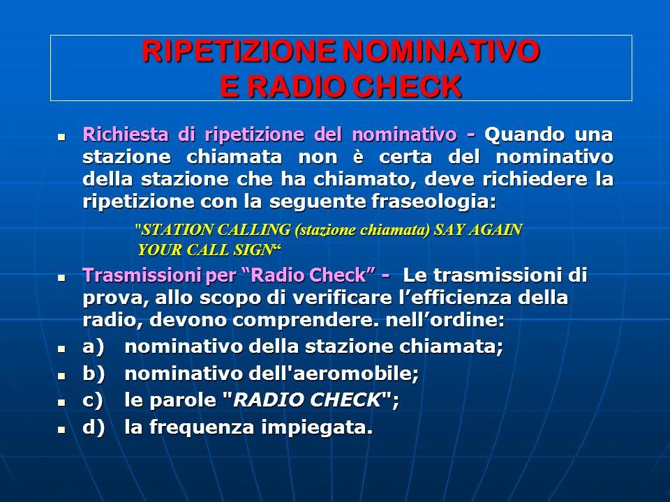 RIPETIZIONE NOMINATIVO E RADIO CHECK Richiesta di ripetizione del nominativo - Quando una stazione chiamata non è certa del nominativo della stazione