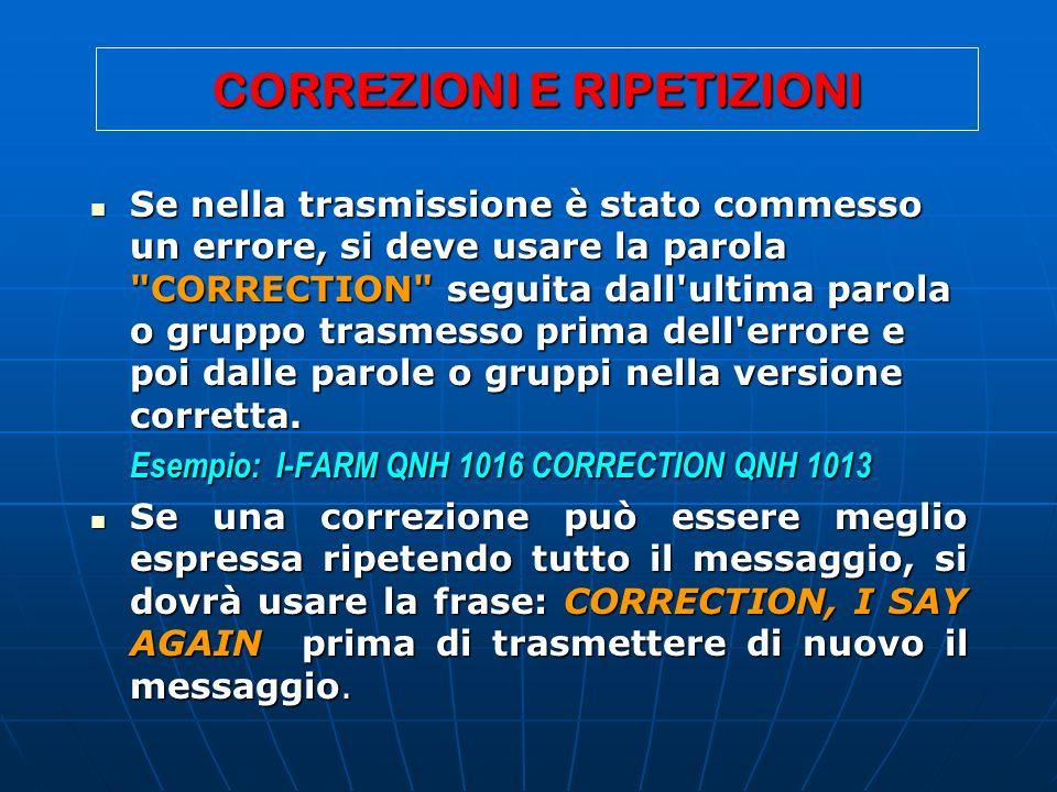 CORREZIONI E RIPETIZIONI Se nella trasmissione è stato commesso un errore, si deve usare la parola