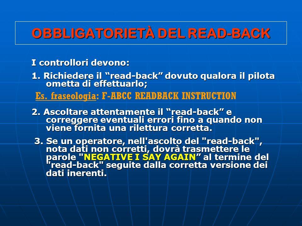 OBBLIGATORIETÀ DEL READ-BACK I controllori devono: I controllori devono: 1. Richiedere il read-back dovuto qualora il pilota ometta di effettuarlo; 1.