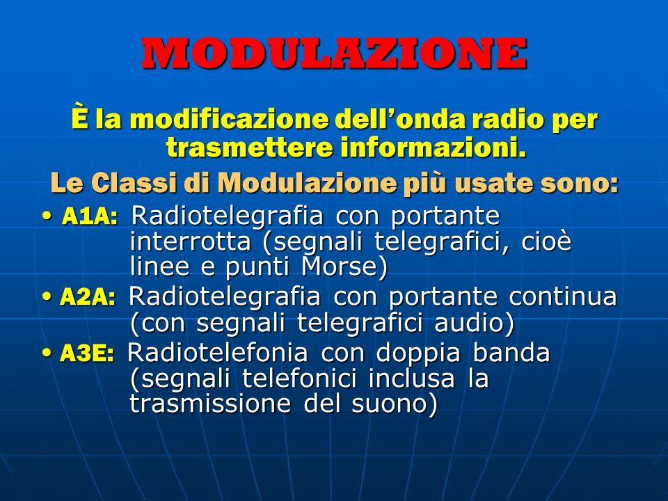 MODULAZIONE È la modificazione dellonda radio per trasmettere informazioni. Le Classi di Modulazione più usate sono: A1A: Radiotelegrafia con portante