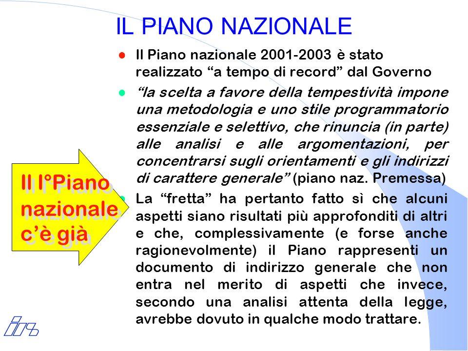 IL PIANO NAZIONALE l Il Piano nazionale 2001-2003 è stato realizzato a tempo di record dal Governo l la scelta a favore della tempestività impone una
