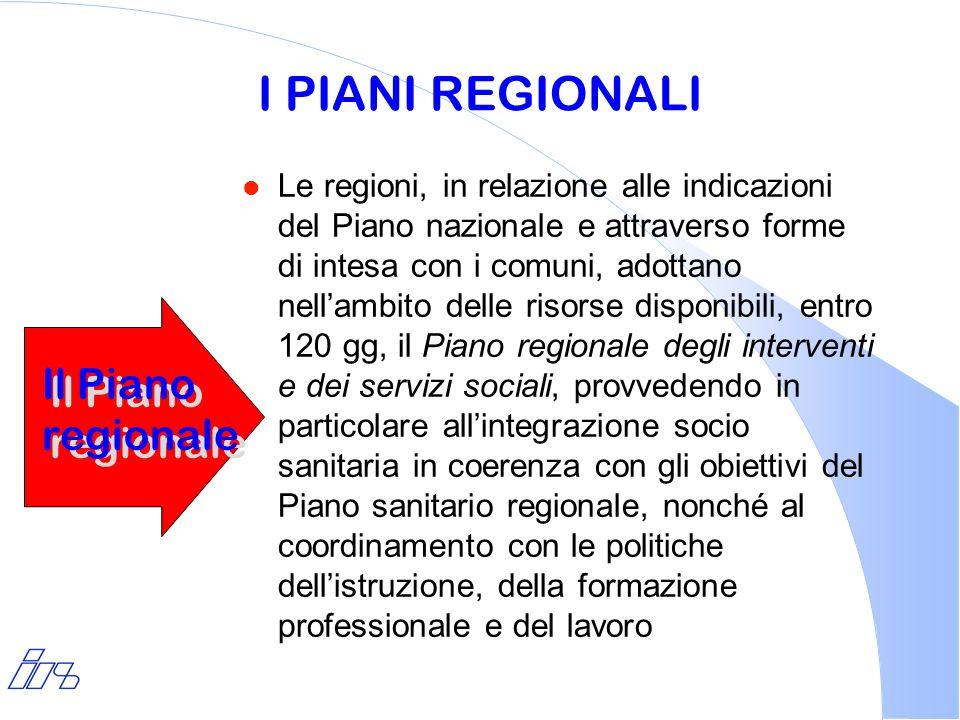 I PIANI REGIONALI l Le regioni, in relazione alle indicazioni del Piano nazionale e attraverso forme di intesa con i comuni, adottano nellambito delle