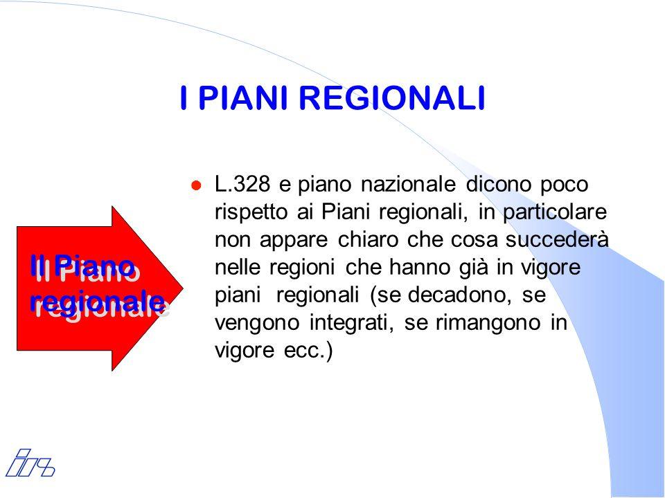 I PIANI REGIONALI l L.328 e piano nazionale dicono poco rispetto ai Piani regionali, in particolare non appare chiaro che cosa succederà nelle regioni
