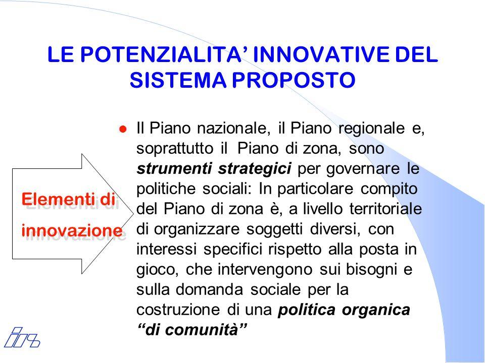 LE POTENZIALITA INNOVATIVE DEL SISTEMA PROPOSTO l Il Piano nazionale, il Piano regionale e, soprattutto il Piano di zona, sono strumenti strategici pe