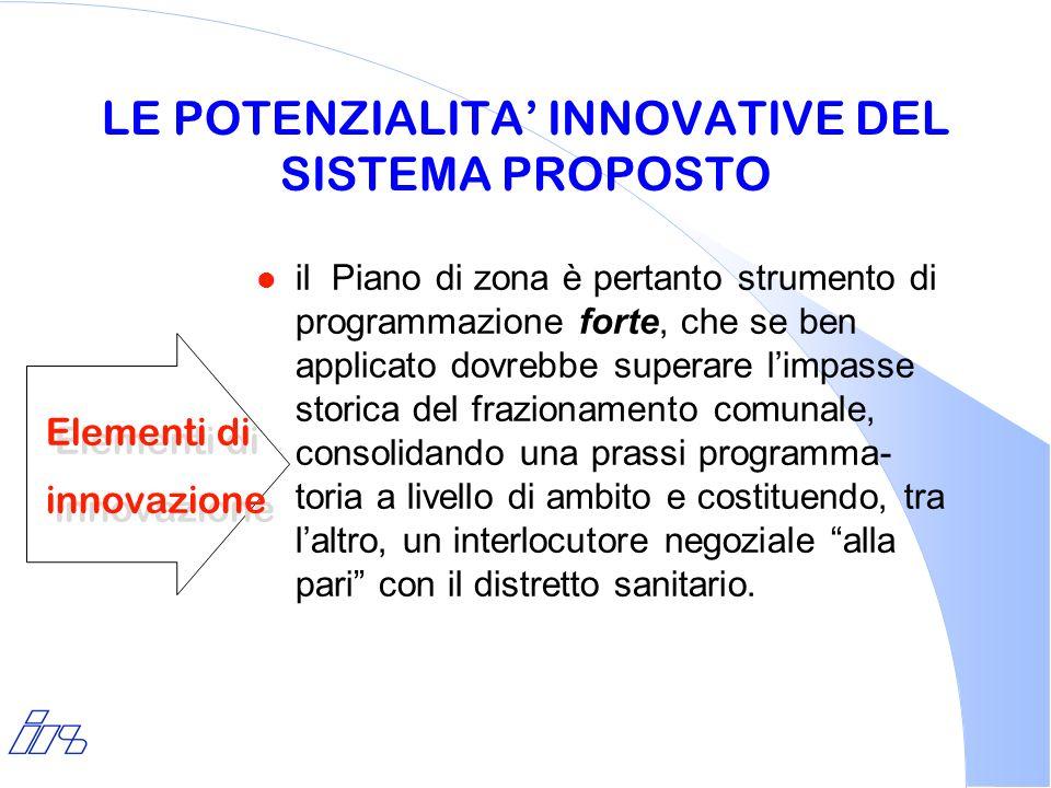 LE POTENZIALITA INNOVATIVE DEL SISTEMA PROPOSTO l il Piano di zona è pertanto strumento di programmazione forte, che se ben applicato dovrebbe superar