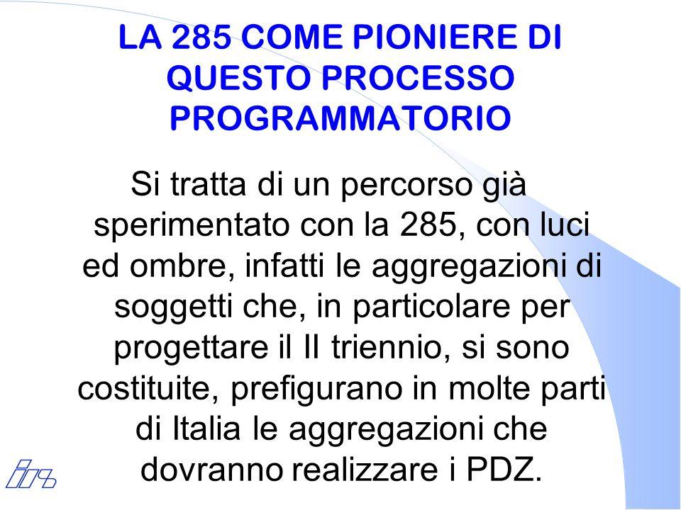 LA 285 COME PIONIERE DI QUESTO PROCESSO PROGRAMMATORIO Si tratta di un percorso già sperimentato con la 285, con luci ed ombre, infatti le aggregazion