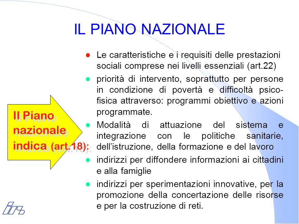IL PIANO NAZIONALE l Le caratteristiche e i requisiti delle prestazioni sociali comprese nei livelli essenziali (art.22) l priorità di intervento, sop
