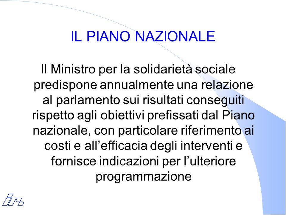 IL PIANO NAZIONALE Il Ministro per la solidarietà sociale predispone annualmente una relazione al parlamento sui risultati conseguiti rispetto agli ob