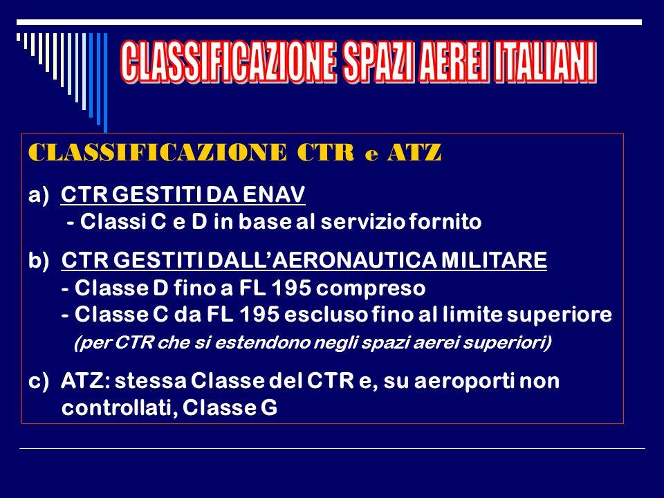 CLASSIFICAZIONE ROTTE ATS a) ROTTE ATS, ROTTE RNAV E CDR SUPERIORI (da FL 200 a FL 460 compreso) : Classe C b) AEROVIE, ROTTE RNAV E CDR INFERIORI - d