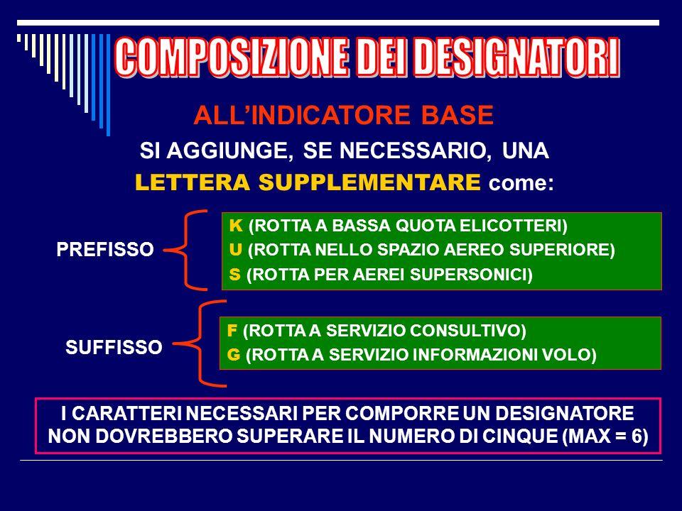 DESIGNATORE BASICO CONSISTE IN UNA LETTERA DELLALFABETO SEGUITA DA UN NUMERO DA 1 A 999. LE LETTERE DEVONO ESSERE SCELTE TRA LE SEGUENTI: A, B, G, R,