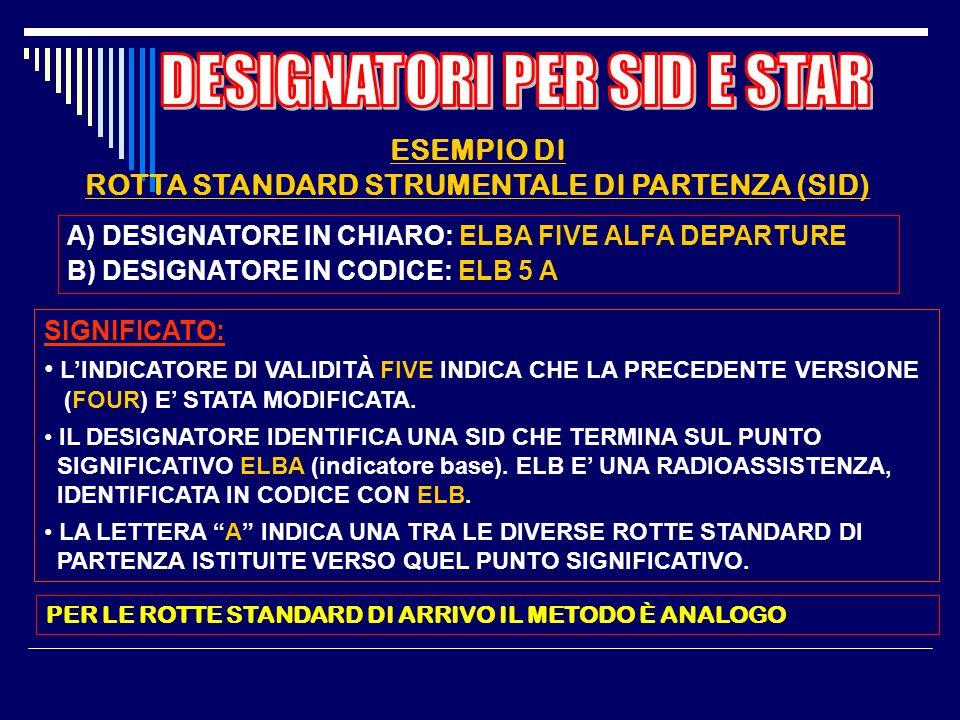 SID E STAR SONO IDENTIFICATE ATTRAVERSO UN DESIGNATORE IN CHIARO E UN CORRISPONDENTE DESIGNATORE IN CODICE IL DESIGNATORE IN CHIARO È COSTITUITO DA: -