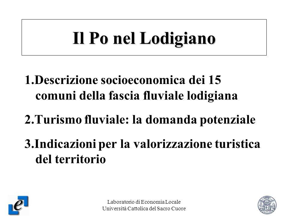Laboratorio di Economia Locale Università Cattolica del Sacro Cuore 2 1.Descrizione socioeconomica dei 15 comuni della fascia fluviale lodigiana 2.Tur