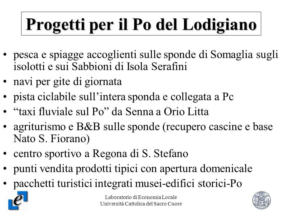 Laboratorio di Economia Locale Università Cattolica del Sacro Cuore 21 Progetti per il Po del Lodigiano pesca e spiagge accoglienti sulle sponde di So