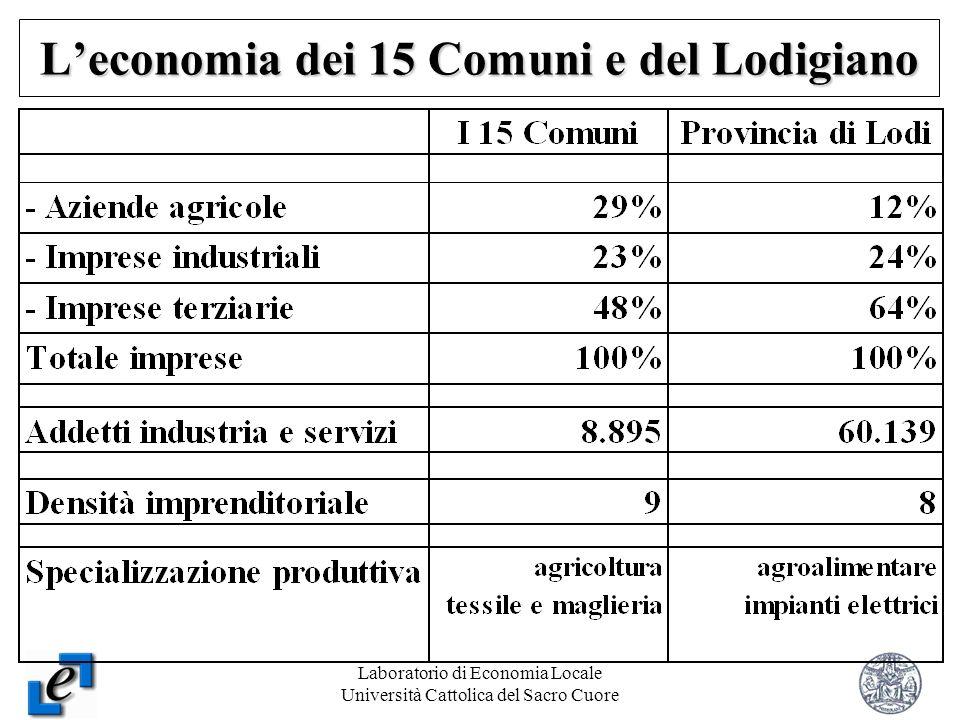 Laboratorio di Economia Locale Università Cattolica del Sacro Cuore 6 Leconomia dei 15 Comuni e del Lodigiano