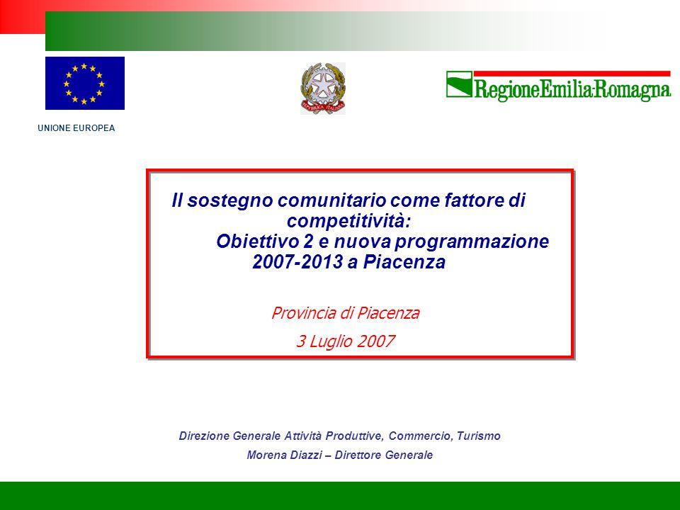 Fondi comunitari a finalità strutturali 2007-2013 – La programmazione regionale CONTESTO SOCIO-ECONOMICO Indicatori socio-economici Emilia- Romagna Italia UE 1525 PIL pro capite (PPA) 2003 (valori in euro)29.05923.44823.72021.741 Numero indice.