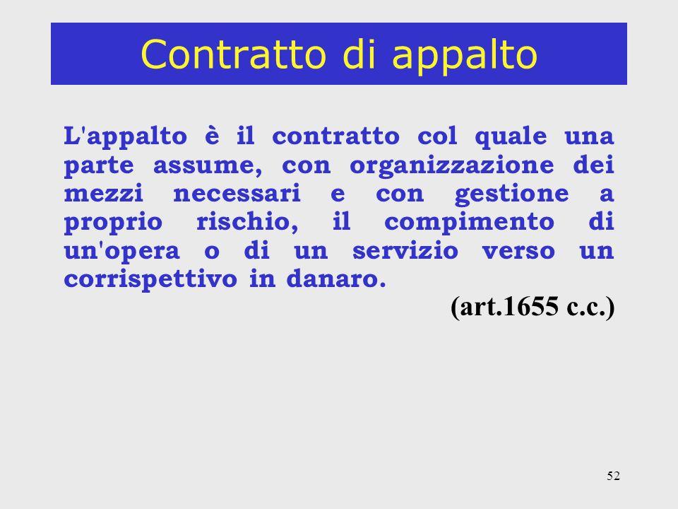 52 Contratto di appalto L appalto è il contratto col quale una parte assume, con organizzazione dei mezzi necessari e con gestione a proprio rischio, il compimento di un opera o di un servizio verso un corrispettivo in danaro.