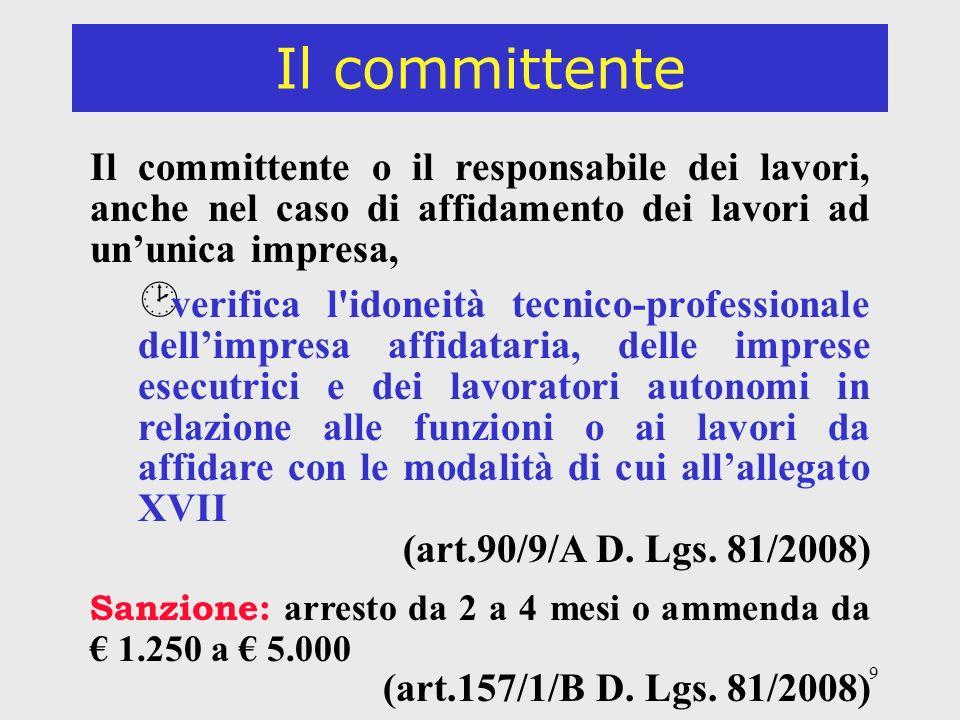 30 Il responsabile dei lavori Il committente è esonerato dalle responsabilità connesse alladempimento degli obblighi limitatamente allincarico conferito al responsabile dei lavori.