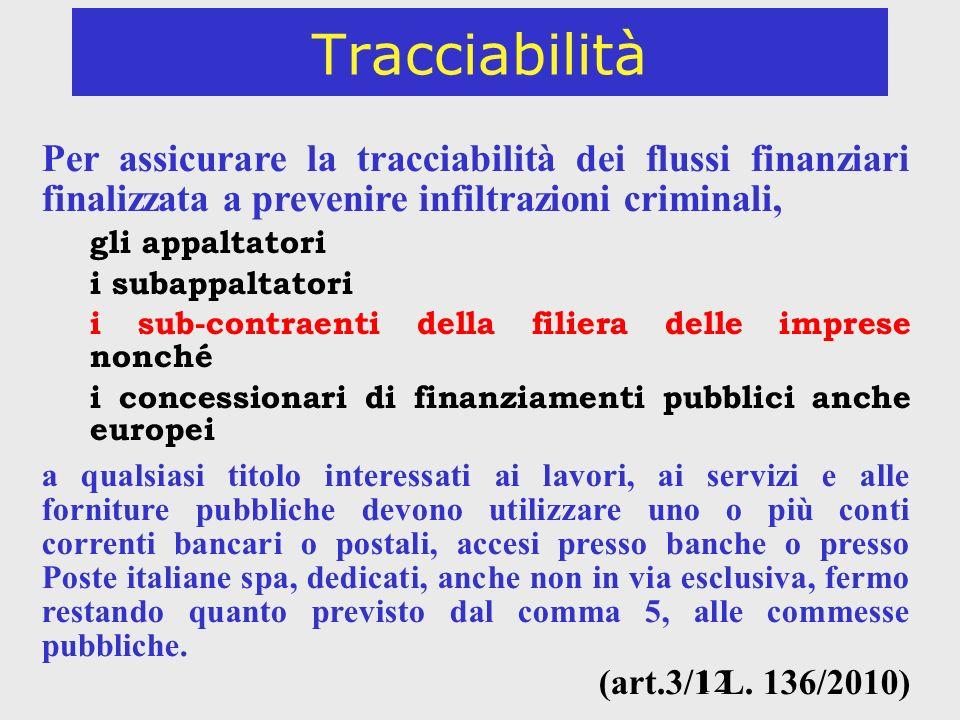 12 Tracciabilità Per assicurare la tracciabilità dei flussi finanziari finalizzata a prevenire infiltrazioni criminali, gli appaltatori i subappaltato
