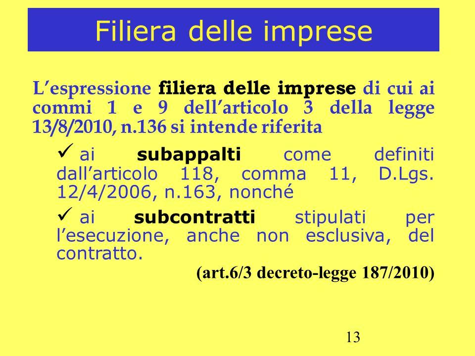13 Filiera delle imprese Lespressione filiera delle imprese di cui ai commi 1 e 9 dellarticolo 3 della legge 13/8/2010, n.136 si intende riferita ai s
