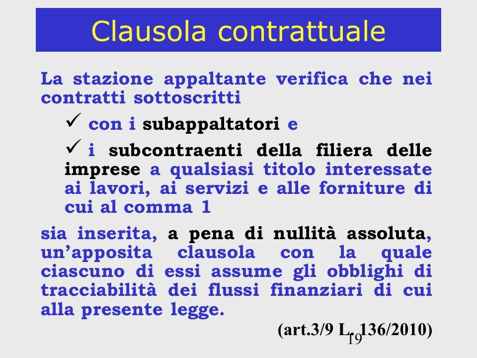 19 Clausola contrattuale La stazione appaltante verifica che nei contratti sottoscritti con i subappaltatori e i subcontraenti della filiera delle imp