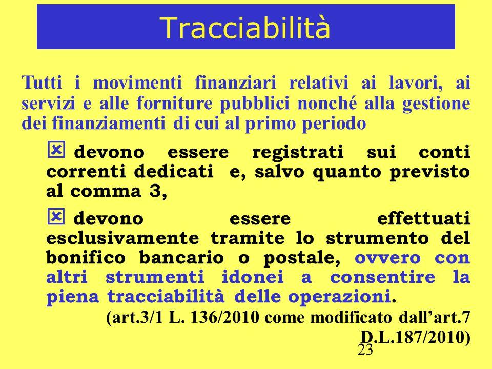 23 Tracciabilità Tutti i movimenti finanziari relativi ai lavori, ai servizi e alle forniture pubblici nonché alla gestione dei finanziamenti di cui a